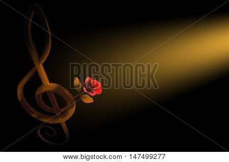 3d illustration of a golden treble clef with a pink rose over dark background