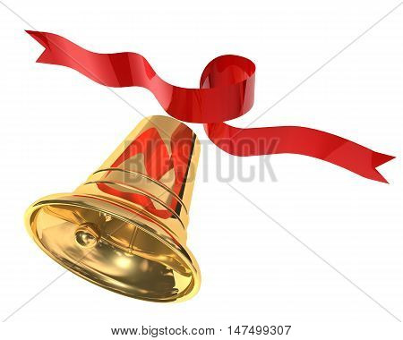 3d illustration of Christmas bell with red ribbon on white background