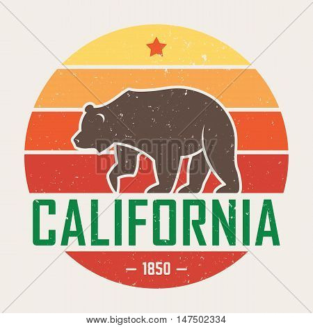 California T-shirt With Grizzly Bear. T-shirt Graphics, Design, Print, Typography, Label, Badge. Vec