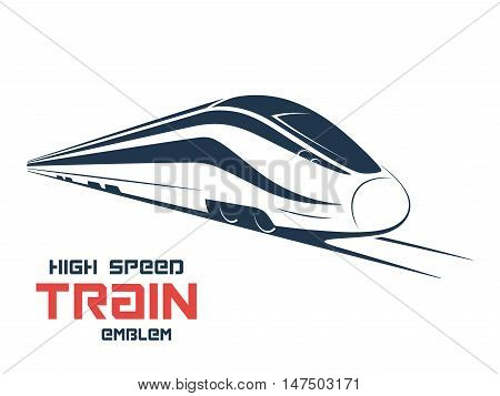 Modern high speed train emblem icon label silhouette. Vector illustration.