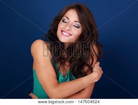 Happy Makeup Woman Hugging Herself With Natural Emotional Enjoying Face. Love Concept Of Yourself Bo