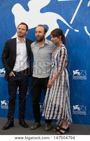 Alicia Vikander, Michael Fassbender, Derek Cianfrance  at the photocall for The Light Between Oceans at the 2016 Venice Film Festival. September 1, 2016  Venice, Italy