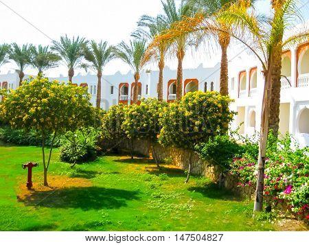 Sharm el Sheikh Egypt - November 8 2012: Beauty white building of hotel Sunrice Diamond Beach Resort in Sharm el Sheikh Egypt