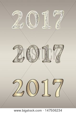 Set  2017 in different variants. Christmas vector illustration with glitter numbers can be used in any text, invitations, posters, leaflet, greeting cards, web design etc. Vertical banner.