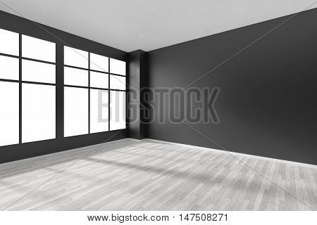 Black and white empty room with white hardwood parquet floor big window and black walls and sunlight from window minimalist interior 3d illustration
