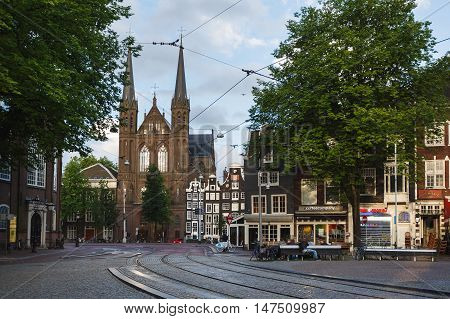 Amsterdam Netherlands - July 03 2016: De Krijtberg Church the Catholic church in the oldest district of the city located on Singel 446 morning time