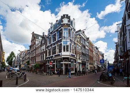 Amsterdam Netherlands - July 02 2016: View of the Stach food shop located on Nieuwe Spiegelstraat 52 sunny day