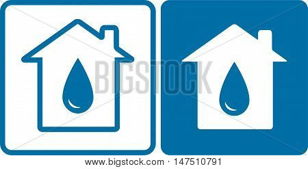 House Icons With Big Water Drop