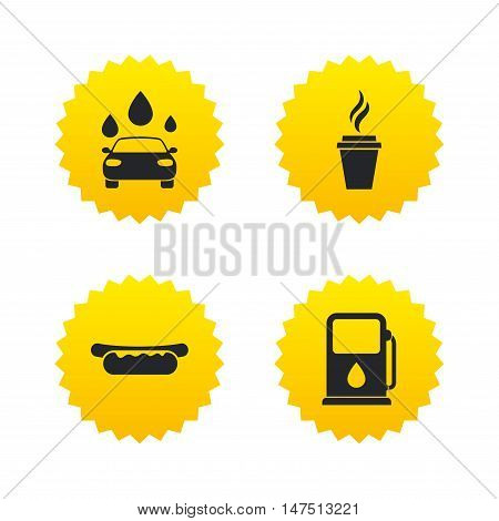 Petrol or Gas station services icons. Automated car wash signs. Hotdog sandwich and hot coffee cup symbols. Yellow stars labels with flat icons. Vector