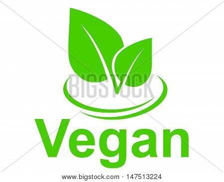 Green Vegetarian Sign With Leaves