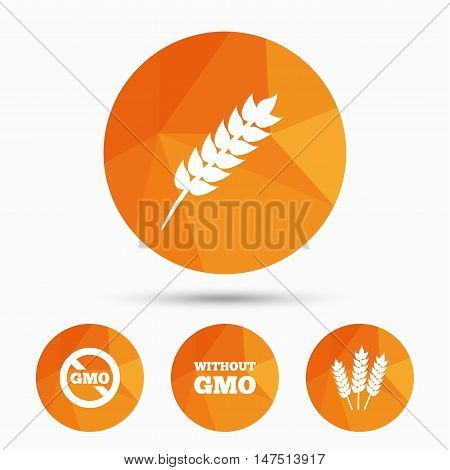 Agricultural icons. Gluten free or No gluten signs. Without Genetically modified food symbols. Triangular low poly buttons with shadow. Vector