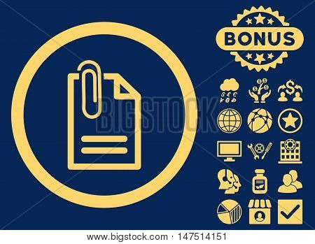 Attach Document icon with bonus design elements. Vector illustration style is flat iconic symbols, yellow color, blue background.