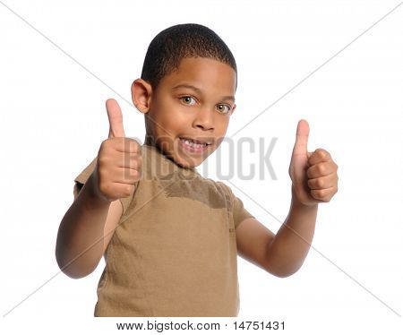 Young African American boy giving the thumbs up