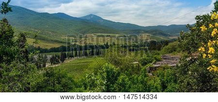 Mountain landscape observed from the observation deck of the zoo of the city of Alushta Crimea