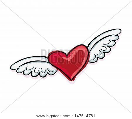 red heart with wings. love romance decoration. vector illustration