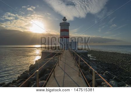 Lighthouse At Seashore Of Iceland, Summer Time
