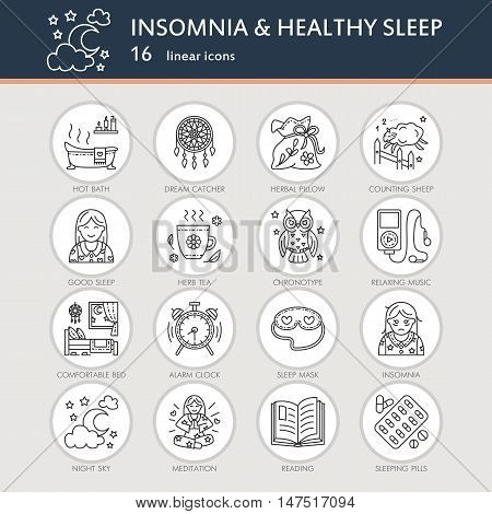 Modern vector line icon of insomnia problem and healthy sleep. Elements - clock pillow pills dream catcher counting sheep. Linear pictogram for sites brochures about insomnia