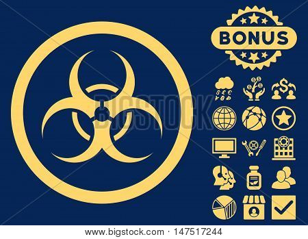 Biohazard Symbol icon with bonus images. Vector illustration style is flat iconic symbols, yellow color, blue background.