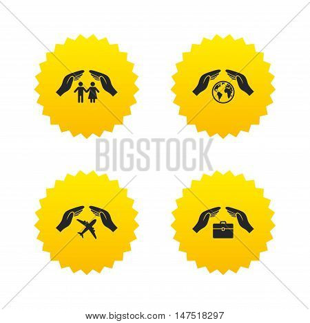 Hands insurance icons. Human life insurance symbols. Travel flight baggage symbol. World globe sign. Yellow stars labels with flat icons. Vector