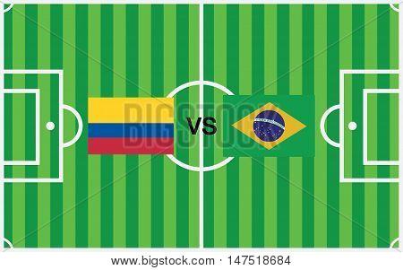 brazil vs colombia vector design, vector illustration eps10.