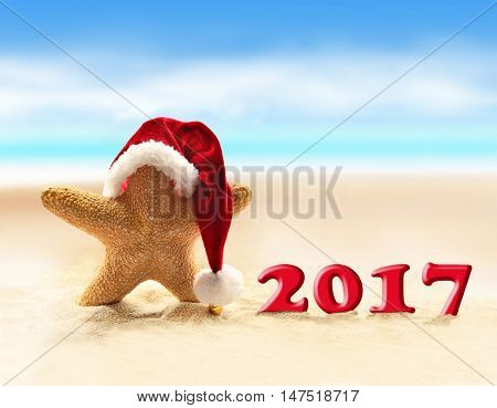 Merry Christmas on the summer beach. Starfish in santa hat and Happy new 2017 year.