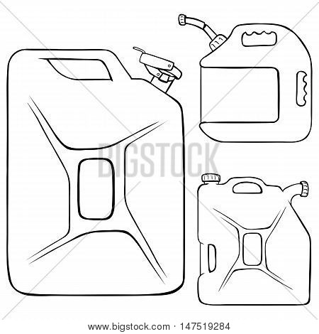 Vector Set Of Lineart Jerry Cans