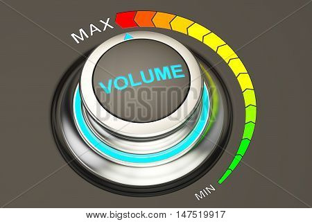 volume knob max level of volume. 3D rendering