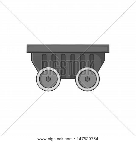 Mining cart icon in black monochrome style on a white background vector illustration