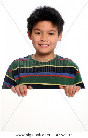 Boy holding blank sign isolated over white background