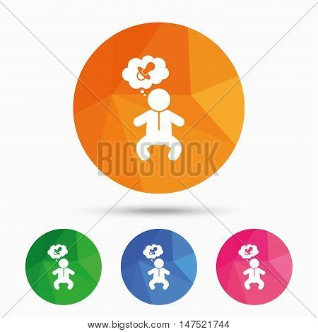 Baby infant think about pacifier nipple sign icon. Toddler boy in pajamas or crawlers body symbol. Triangular low poly button with flat icon. Vector