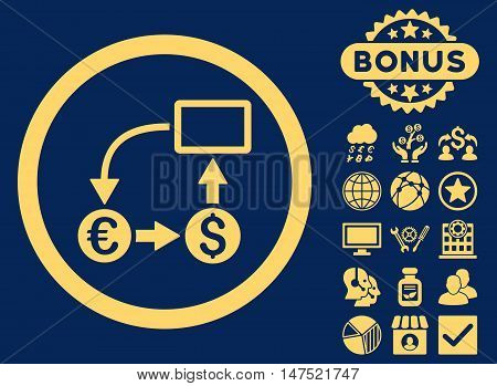 Cashflow Euro Exchange icon with bonus pictogram. Vector illustration style is flat iconic symbols, yellow color, blue background.