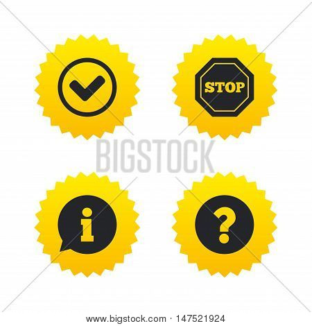 Information icons. Stop prohibition and question FAQ mark signs. Approved check mark symbol. Yellow stars labels with flat icons. Vector