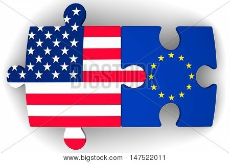 Cooperation between the European Union and the United States of America. Puzzles with flags of the European Union and the United States of America on a white surface. The concept of coincidence of interests in geopolitics. Isolated. 3D Illustration