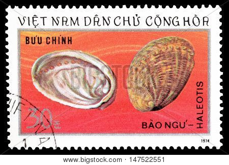 VIETNAM - CIRCA 1974 : Cancelled postage stamp printed by Vietnam, that shows Haleotis.