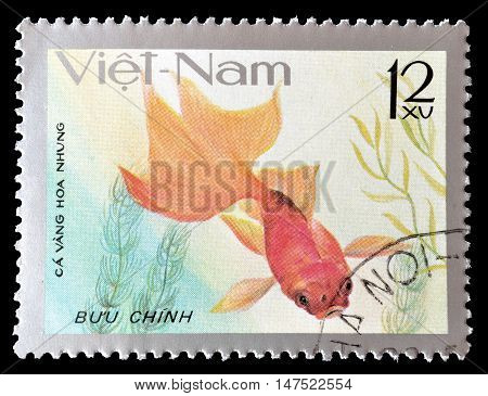 VIETNAM - CIRCA 1977 : Cancelled postage stamp printed by Vietnam, that shows Velvet fish.
