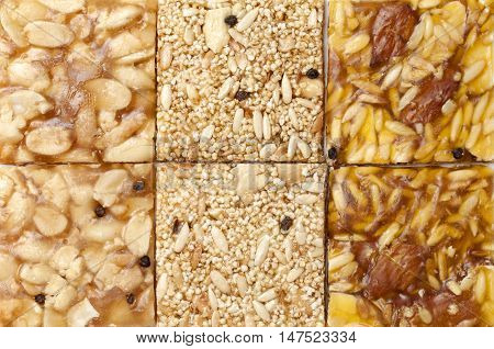 Various kinds of Indian sweet brittle, close-up