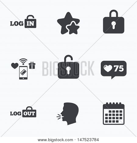 Login and Logout icons. Sign in or Sign out symbols. Lock icon. Flat talking head, calendar icons. Stars, like counter icons. Vector