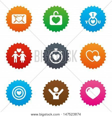 Love, valentine day icons. Target with heart, oath letter and locker symbols. Couple lovers, boyfriend signs. Stars label button with flat icons. Vector