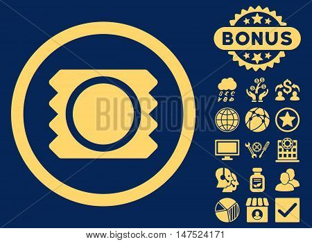 Condom icon with bonus pictogram. Vector illustration style is flat iconic symbols, yellow color, blue background.