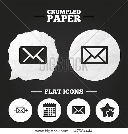 Crumpled paper speech bubble. Mail envelope icons. Message delivery symbol. Post office letter signs. Paper button. Vector