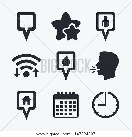 Map square pointer icons. Home, food and user location symbols. Restaurant and cupcake signs. You are here. Wifi internet, favorite stars, calendar and clock. Talking head. Vector