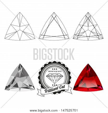 Set of trilliant cut jewel views isolated on white background. Trilliant cut jewel top and bottom views. Trilliant cut realistic ruby. Trilliant cut realistic diamond. Trilliant cut badge.