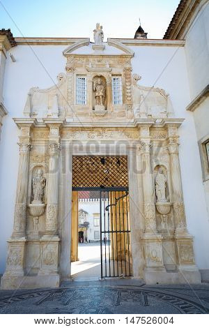 University's Palace Gate In Coimbra