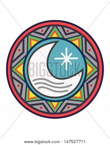 Hand drawn vector illustration or drawing of a sun a moon and a star in an indigenous ethnic indian style