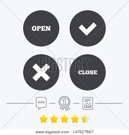 Open and Close icons. Check or Tick. Delete remove signs. Yes correct and cancel symbol. Chat, award medal and report linear icons. Star vote ranking. Vector