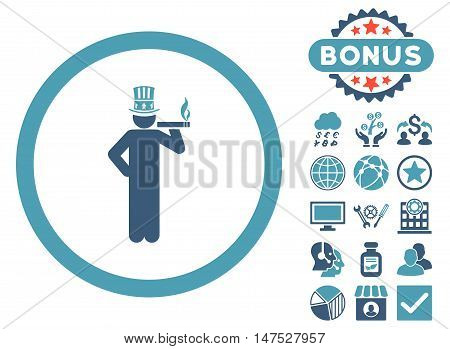American Capitalist icon with bonus elements. Vector illustration style is flat iconic bicolor symbols, cyan and blue colors, white background.