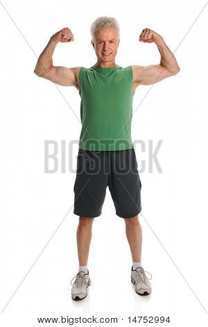 Mature man flexing muscles standing isolated over white background