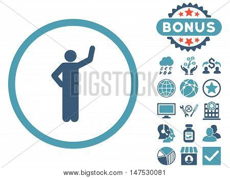 Assurance icon with bonus elements. Vector illustration style is flat iconic bicolor symbols, cyan and blue colors, white background.