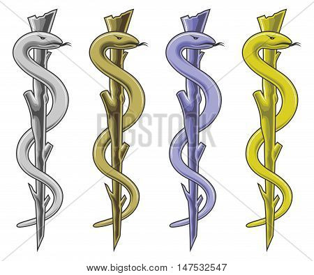 Medical Symbol - Rod of Asclepius is an illustration of the medical symbol in silver, gold, blue and yellow. Vector.