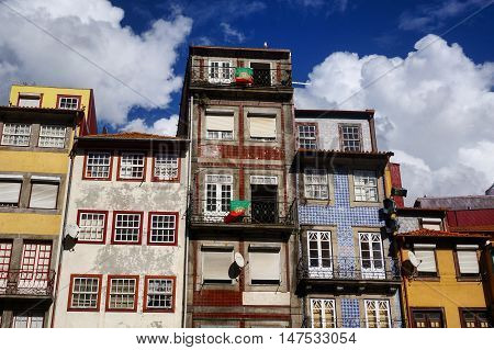Typical houses of Porto city, Portugal. September 2016